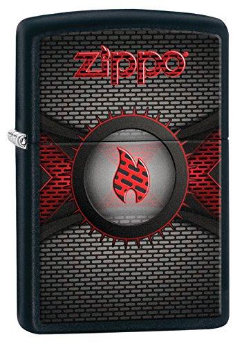Zippo Logo Flame-Black Matte-Spring 2017 Feuerzeug, Chrom, Silber, 5.8 x 3.8 x 2 cm