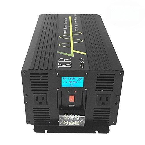 krxny 3000W Reiner Sinus Wechselrichter Konverter Peak 6000W 24V DC bis 120V AC 60Hz mit LCD-Display -