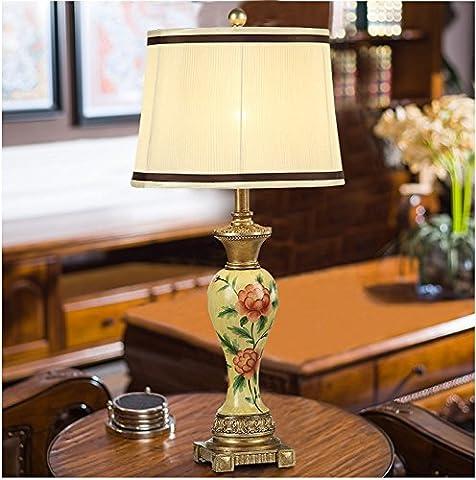 Muidege Lampe De Table Continental Américain, Chambre De Luxe, Lit, La Lampe Rétro, Salon, Salle De Création Au Mariage, La Lampe Décorative,Black Side Court Lampshade,Button Switch,