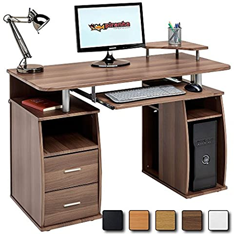 Computer Desk with Shelves, Cupboard and Drawers for Home Office in Dark Walnut Effect - Piranha Furniture Tetra PC 5w