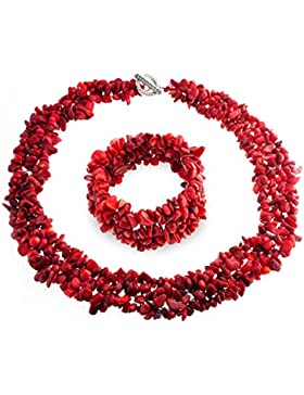 Bling Jewelry Multi Stränge Red Coral Chips Cluster Halskette und Armband Set