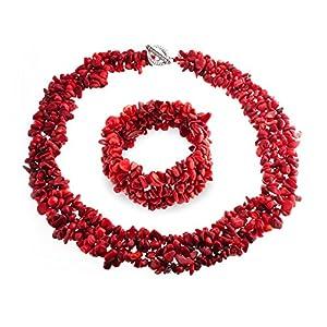 Bling Jewelry Rot Eingefärbt Coral Der Haufen Chips Bib Erklärung Halsband Collier Halskette Armband Schmuckset Für Damen