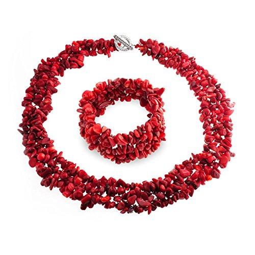 Bling Jewelry mit mehreren Strängen roten Chips Cluster gefärbt Korallen Kette Armband Set Versilbert