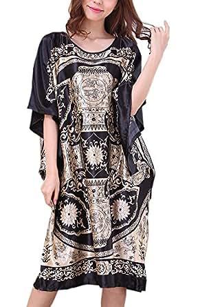 Yidarton Chemise de Nuit femme Soie en vrac Grande Taille - Longue Robe Couverture Satin Pyjama Femme Manches Courtes