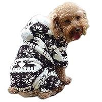bismarckbeer® Puppy Dog Jumper Pajamas Pullover Small Dogs Elk Pattern Hooded Winter Coat