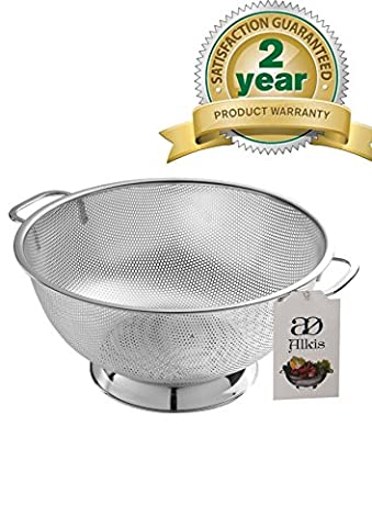 Alkis Stainless Steel Colander -Strainer -With Handles-Solid Base-Dish Washer Safe- Best Sieve -Strainer For Rice -Pasta-Vegetables &Fruits.