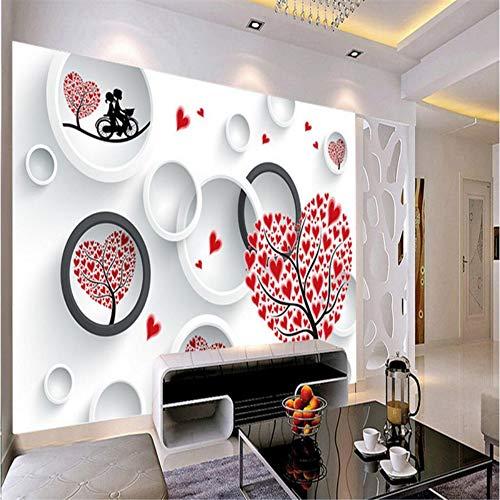 3D tapete Wandbilder Benutzerdefinierte Fresko Wandaufkleber Liebe Paar Herz Baum 3D Tv Wall Paper Foto Für Wände 3 D 98,4X68,8 Zoll (Süßigkeiten Benutzerdefinierte Herzen)