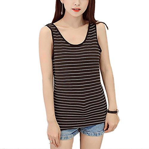 Honghu Damen Streifen Tops One Size Weiß