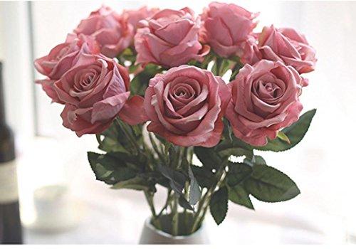Longra Wohnaccessoires & Deko Kunstblumen Künstliche 5 Stück künstliche Fake Rosen Flanell Blume Bridal Bouquet Hochzeit Party Home Decor Blume (I)