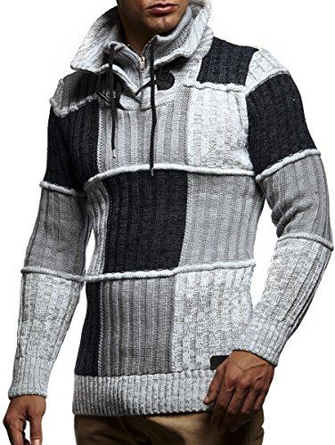 LEIF NELSON Herren Strickpullover Pullover Hoodie Sweatshirt LN5500 Ecru-Grau