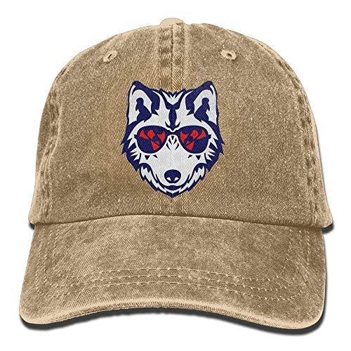 Hoswee Unisex Kappe/Baseballkappe, Cool Wolf Sunglasses Cowboy Baseball Cap for Womens Mens Trucker Style Hats C1