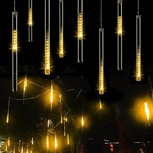 Fallende Lichter, EONANT 30cm 10 Tubes 360LEDs Solarfalllichter Meteorschauer Lichter Regen Tropfen Lichter für Bäume Parteien Hochzeit Garten Haus Dekoration (Warm White)