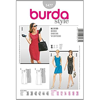 Burda Schnittmuster 3477 Kleid Gr. 36-46: Amazon.de: Küche & Haushalt