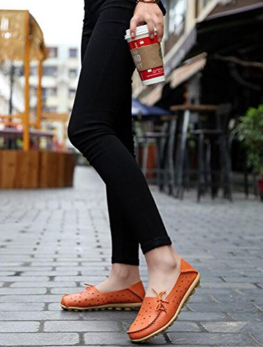Vogstyle Damen Neu Hohl Mokassins Flach Loafer Slipper Schuhe Kaffee