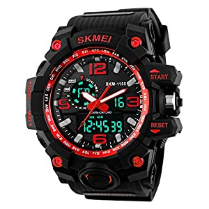 Skmei Analog-Digital Black Dial Men's Watch – 1155-Red