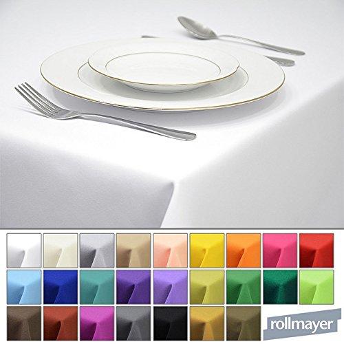Rollmayer Tischdecke Tischtuch Tischläufer Tischwäsche Gastronomie Kollektion Vivid (Weiß 1, 120x220cm) Uni einfarbig pflegeleicht waschbar 40 Farben