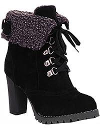 Bottes Mode féminine Talons cheville à lacets Bottes de neige Platform Pumps garder femmes bottes chaudes