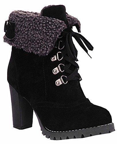 Fashion Damen Stiefeletten High Heels Lace up Snow Boots-Plattform-Pumpen warm halten Frauen Stiefel Schwarz