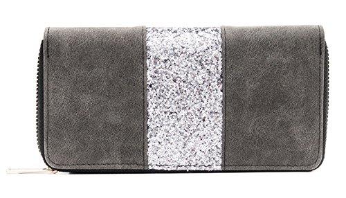 Kandharis Geldbörse Portemonnaie mit Glitzerstreifen Börse Brieftasche für Damen Zippverschluss Kunstleder GB-07, Farbe: Dunkelgrau
