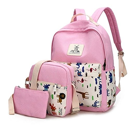 YiLianDa Donna Zaino Di Tela Zaino Ragazza Borsa Backpack Women Schoolbag 3 in 1 Rosa