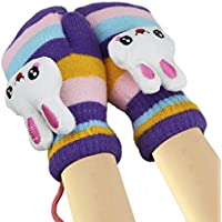 Kids Thick Fleece Lined Insulated Warm Gloves with Anti-lost String Fluffy Knitted Hang Neck Gloves Cartoon Thickened Wool Warm Full Finger Mittens Hand Wrist Warmers Windproof Outdoor Gloves
