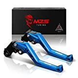 MZS CNC Brake Clutch Levers for Yamaha MT-07/FZ-07 14-17,FZ1 Fazer 06-13,FZ6 Fazer 04-10,FZ6R 09-15,FZ8 11-15,FZ-09/MT-09/SR 14-17,XJ6 Diversion 09-15,XSR700 ABS/XSR900 ABS/XV950 Racer 16-17 blau