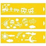 (Satz von 3) 30cm x 8cm Flexibel Kunststoff Universal Schablone - Textil Kuchen Wand Airbrush Möbel Dekor Dekorative Muster Torte Design Technisches Zeichnen Zeichenschablone Wandschablone Kuchenschablone - Spielzeug Zug Flugzeug Ballon Wolken Sterne Himmel