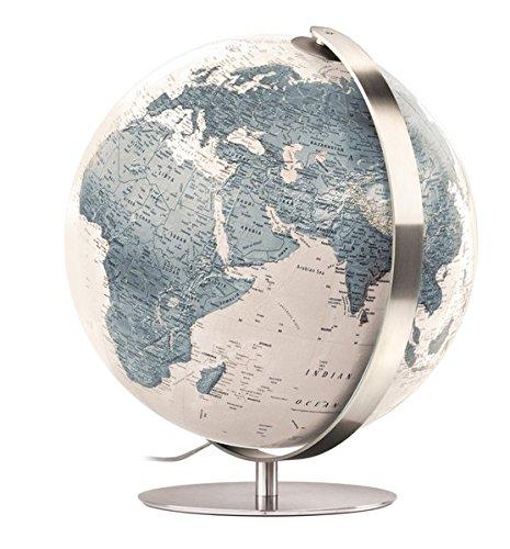 ZFG 3703: Handkaschierter Leuchtglobus 37 cm Durchm,. moderne zweifarbige Kartografie cremeweiß/graublau, Meridian und Fuß aus Edelstahl (Design Globus)
