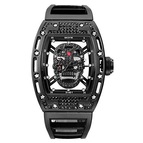 Mens Fashion Military Silikonband Rechteck Zifferblatt Schädel Gesicht Männer Uhren Armbanduhren 3D Peeling Zifferblatt - Männer Tägliche Gesicht Peeling