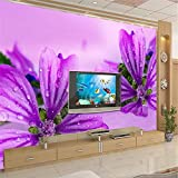 Hojuan Dekoration 3D Tapete Hintergrundbild Walllpaper Custom 3D Wallpaper Chinesischen Orchid Flower Red Big Purple Hohe Wand Tapete Wohnzimmer Sofa Tv Wand Ion Wandmalerei Fresko mural 350cmX260cm
