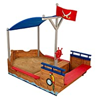 KidKraft 128 Pirate Sandboat Wooden Outdoor Garden Sandbox for Children Kids