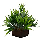 #4: Thefancymart Artificial Bamboo leaves plant (size 7.5 inchs/ 20 cms) with wood Hexagun pot-1383