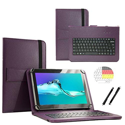 Deutsche Qwertz Tastatur für Acer Iconia One 10 B3-A40 Tablet PC Etui Schutz Hülle mit Touch Pen - Tastatur 10.1 Zoll Lila