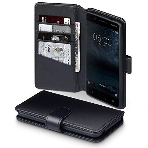 Nokia 5 Case, Terrapin [ECHT LEDER] Brieftasche Case Hülle mit Standfunktion Kartenfächer und Bargeld für Nokia 5 Hülle Schwarz
