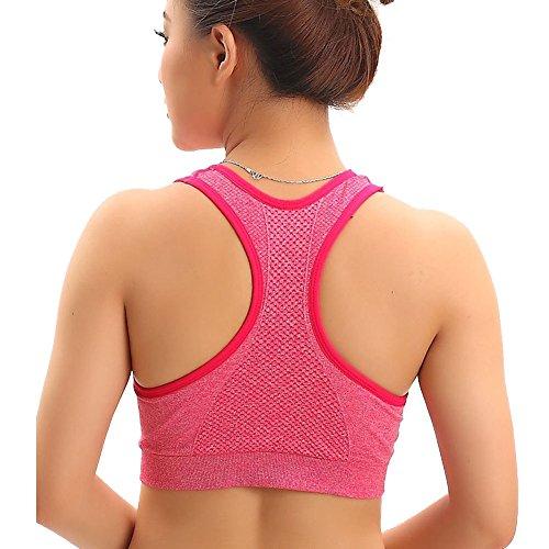 DELEY Donne Yoga Esecuzione Aerobica Esercizio Atletico Sudare Senza Giunte Sport Reggiseno Canotta Rosso