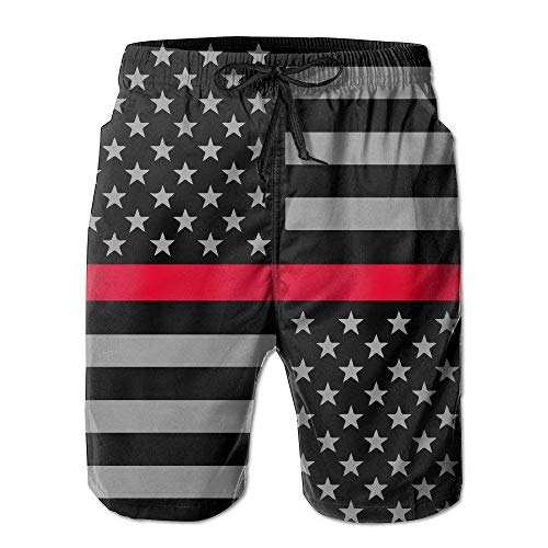 artyly Männer dünne rote Linie Flagge USA Sommer kühle Badehose Strand Shorts Cargo Shorts, Größe L