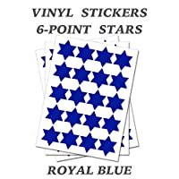 Set of 100 - Royal Blue Six Point Star Merit Reward Stickers - Removable Self Adhesive Waterproof Durable Vinyl Label Sticker 9mm Each for School, Preschool, Nursery & Home Activity by PARTY DECOR