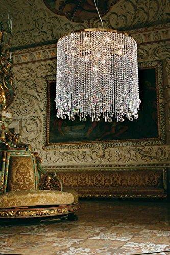 Masiero Suspensions Deco Or 24 carats Fait à la main,Fabriqué en Italie,Cristal taillé italien
