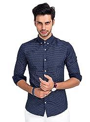 Mr Button The Dreamy Night Cotton Shirts For Men, Long Sleeve, Button-Down Collar, 100% Premium Mercerised Cotton Fabric, Latest Modern Fashion, Branded Stylish (True Blue)