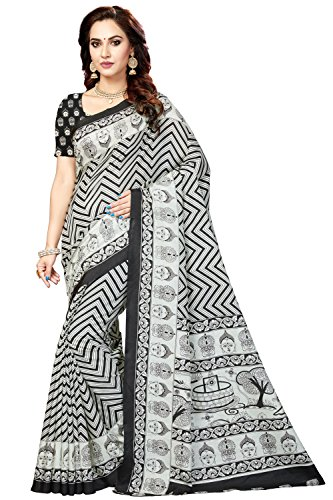 Rani Saahiba Bhagalpuri Printed Art Silk Saree ( SKR3432_White - Black )