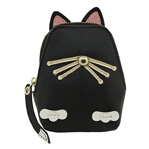 ERCZYO Frauen PU Leder Nette Katze Münze Tasche Kitty Geldbörse Tierform Brieftasche ERCZYO (Color : Color Black, Size : OneSize) -