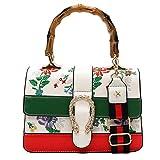 GLYW 2018 Herbst und Winter neue Mode Bambus Handtasche Schultertasche Platz Tasche Multicolor Umhängetasche Stickerei Tasche das schönste Feriengeschenk (25cm* 17cm * 10 cm, Weiß)