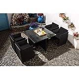 Mon Usine LSR-310-BK/BK 4C Le Vito Salon jardin encastrable en résine Noir 115 x 115 x 73 cm