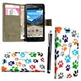 GSDSTYLEYOURMOBILE {TM} HUAWEI ASCEND Y330 VARIOUS FLIP PU LEDER HÜLLE ETUI TASCHE SCHALE CASE COVER + STYLUS (Multi Dog Cat Foot Book)