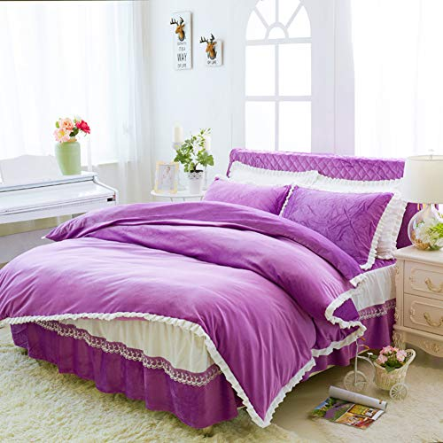 HUIYUE Einzelstück Coral Velvet Bettbezüge,Betten Bettbezug,Super weiche Verdickt Warme -N 200x230cm(79x91inch) -
