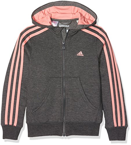 adidas Mädchen Essentials Kapuzenjacke, Dark Grey Heather/Ray Pink, 164