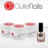 Outlet Nails Pack 3 gels Triphase UV/LED 50 ml + Huile cuticules 15 ml Viscosité moyenne Transparent Gel Monophase UV/LED