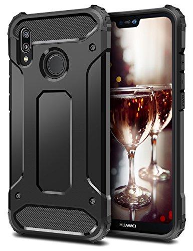 Coolden Huawei P20 Lite Hülle, Premium [Armor Serie] Outdoor Stoßfest Handyhülle Silikon TPU + PC Bumper Cover Doppelschichter Schutz Hülle für Huawei P20 Lite (Schwarz)
