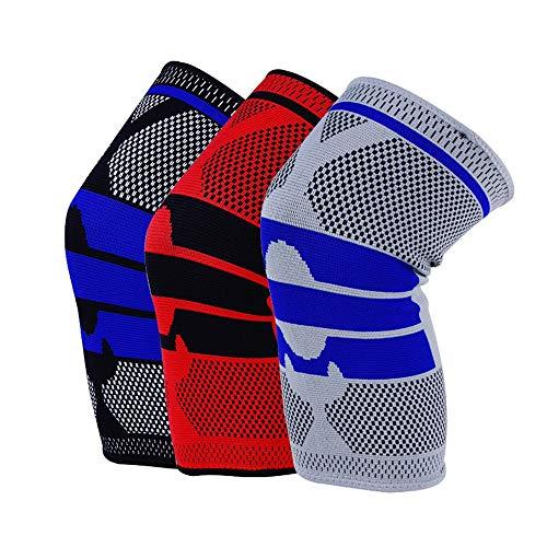 Wüste Stricken (Das Ende der Wüste Sport Schutzausrüstung Knieschützer Meniskusverletzung Silikon Frühling Stricken Knieschützer Laufen Klettern (Farbe : Rot, größe : L))