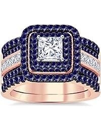 Silvernshine Enhancer Ring Guard & Engagement Ring Set Rose Gold Plated Blue SapphireSim Diamond